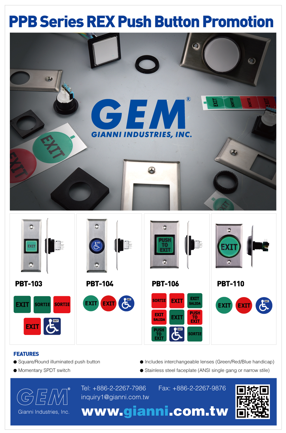 Gem Gianni Industries Inc Push Button 5mm Ansi Illuminated 1 7 16 36mm Square Operating Voltage 12 Vdc Momentary Spdt 3a 125 Or 250vac